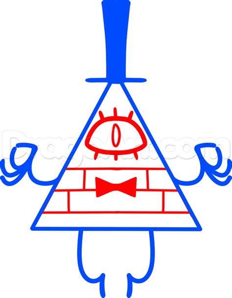 How to Draw Bill Cipher from Gravity Falls, Step by Step