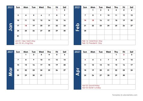 2021 Word Calendar Four Months Per Page - Free Printable