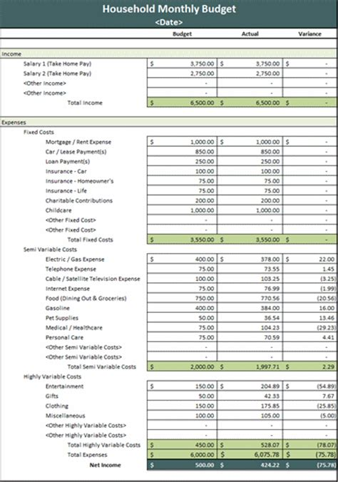 Monthly household budget - Microsoft Excel Template | MS