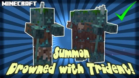 MINECRAFT | How to Summon Drowned With a Trident! - YouTube