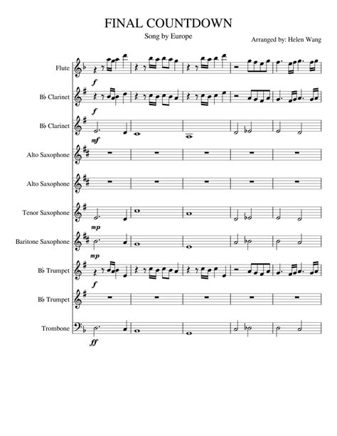Final Countdown Marching Band Score sheet music for Flute